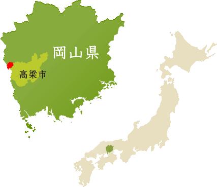 日本地図から見た西山地区の位置